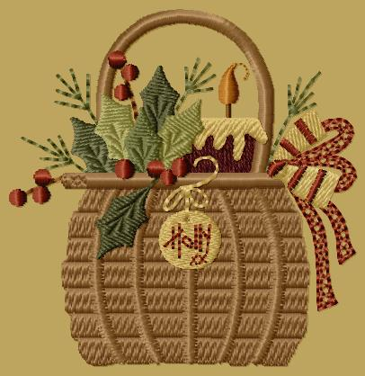"PK066 ""Holly Basket\"" Version 1 - 4x4"
