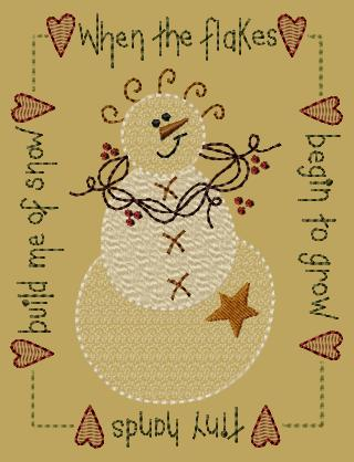 "PK199 ""Flakes Snowman"" Version 1 - 5x7"